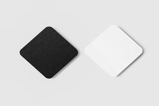 Two blank white and black square beer Coasters Mock up on white background.High resolution photo.
