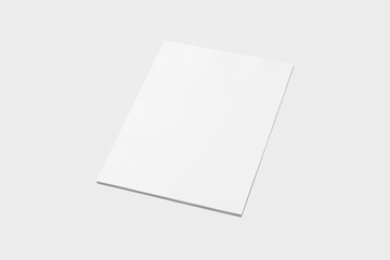A4 Empty paper stack with soft shadows isolated on soft gray background.3D illustration.