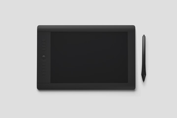 Graphic Tablet with pen for illustrators and designers, isolated on white background.High resolution photo.