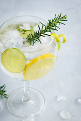 Alcohol drink (gin tonic cocktail) with lemon, lime, rosemary and ice on light background, copy space. Iced drink.