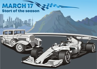 Acrylic Prints F1 Racing cars old and modern f1 car. Vector illustration