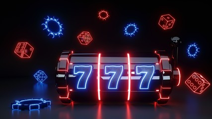 Slot Machine Concept With Glowing Neon Isolated On The Black Background - 3D Illustration