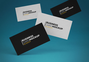 Four Floating Business Cards Mockup