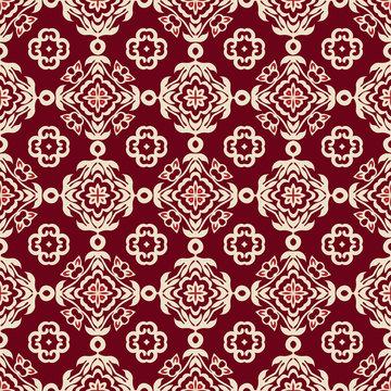Red Damask seamless tiled motif vector pattern
