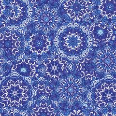 Abstract floral blue ornamental circles mandala seamless pattern