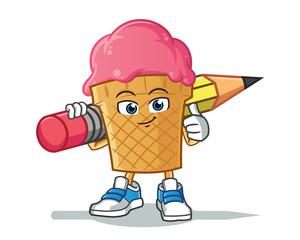 ice cream holding big pencil mascot vector cartoon illustration