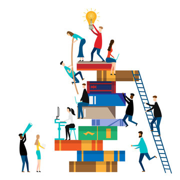 People climbing books. isolated on white background. Vector illustration.