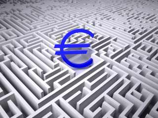 blue euro symbol in the centre of labyrinth