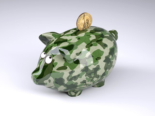 military camouflage painted piggy bank with dollar coin