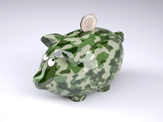 military camouflage painted piggy bank with rublee coin