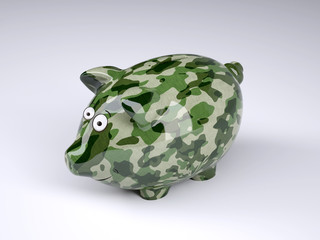 military camouflage painted piggy bank