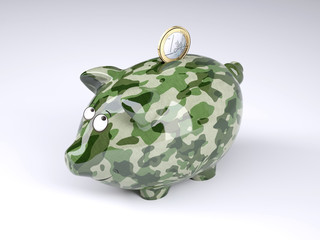 military camouflage painted piggy bank with euro coin
