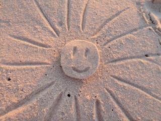 Acrylic Prints Urlaubswetter   fröhlische Sonne aus Sand