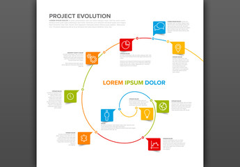 Infographic Layout with Spiral Design Element