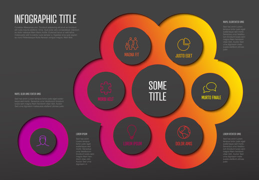 Dark Infographic Layout with Bright Connected Circle Elements