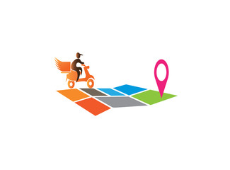 A delivery man riding the moto on the map for logo design