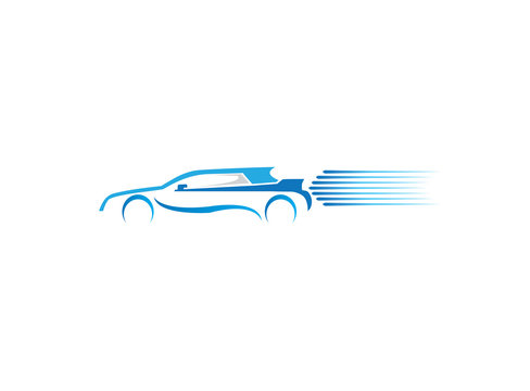 Speed car racing and auto rental for logo design illustration
