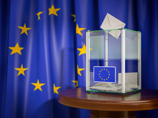 Ballot box with European Union EU flag.