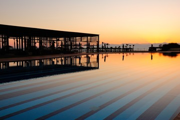 Sunset over the swimming pool in Antalya, Turkey