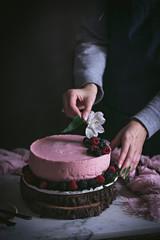 Strawberry tart on table