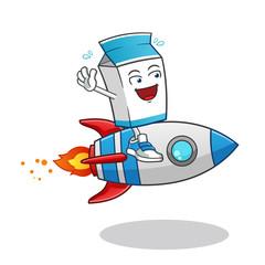 milk riding a rocket mascot vector cartoon illustration