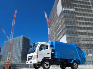 Fototapete - 工事現場と清掃車