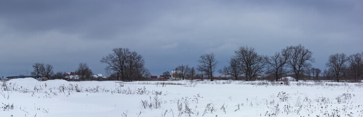 Snow-covered field and dark snow clouds