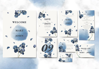 Wedding Suite with Watercolor Elements and Flower Illustrations