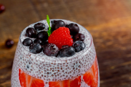 Strawberry with fresh berry fruits jam with chia seeds
