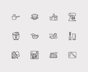 Utensil icons set. Juicer and utensil icons with mixer, hand blender, sauce pan. Set of liquid for web app logo UI design.