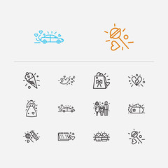 Love icons set. Date day and love icons with wedding dress, wedding car and lollipop. Set of model for web app logo UI design.