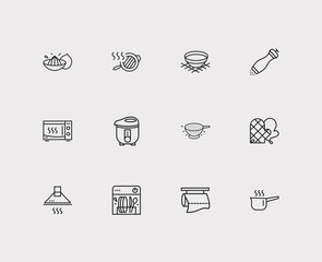 Utensil icons set. Bowl and utensil icons with electric cooker, stove hood, colander. Set of cleaning for web app logo UI design.