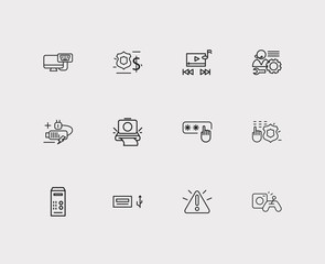 Technology icons set. Access code and technology icons with video control, finance protection and music player. Set of joystick for web app logo UI design.