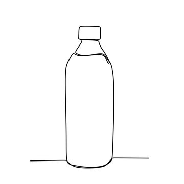 One line drawing of a minimalist bottle drink design.