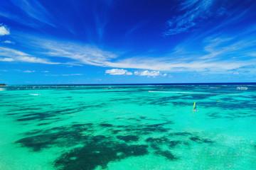 Sailing in surf catamaran in turquoise water of Caribbean sea near Punta Cana beach, Dominican Republic .