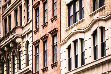 Architectural details on vintage brick apartment building in New York City Wall mural