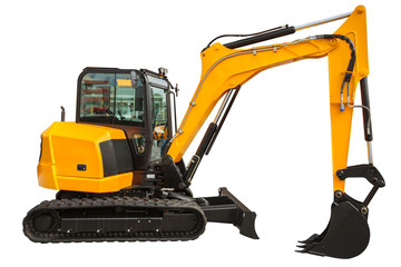 Excavator loader and bucket with clipping path isolated Fotomurales
