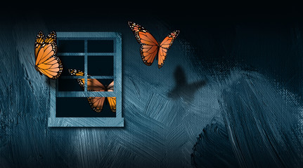 Butterflies escaping open window graphic abstract background