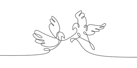 Dove bird. Concept of Two birds one line continuous line drawing vector illustration minimalist design