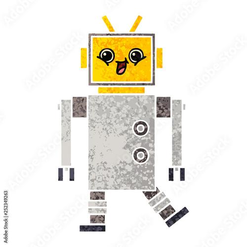 retro illustration style cartoon robot