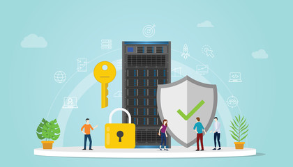 server security concept with team people working together with padlock and secure icon - vector illustration Wall mural