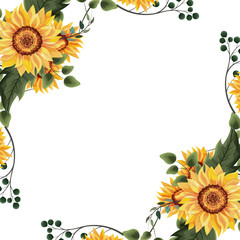 Wall Mural - Spring floral frame