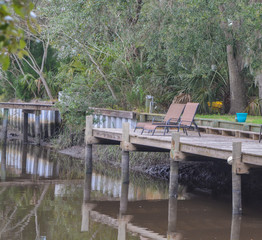 A dock on the Tolomato River, St Johns County, Florida, USA