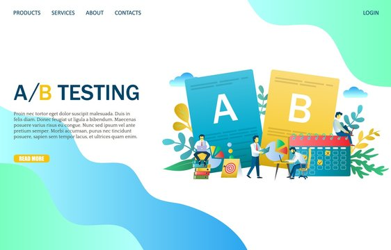 A B testing vector website landing page design template