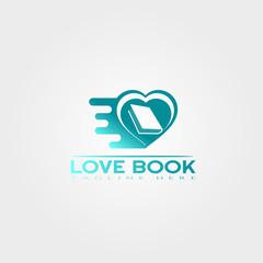 Love book icon template, creative vector logo design, studying, illustration element.