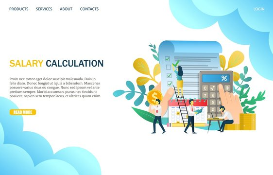 Salary calculation vector website landing page design template