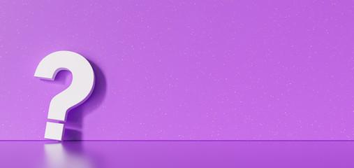 White question mark at purple concrete grunge Wall - FAQ Concept