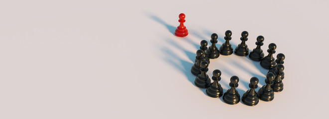 bullying concept, red pawn of chess, standing out from the crowd of blacks, banner size