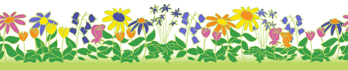 seamless flower patch border pattern