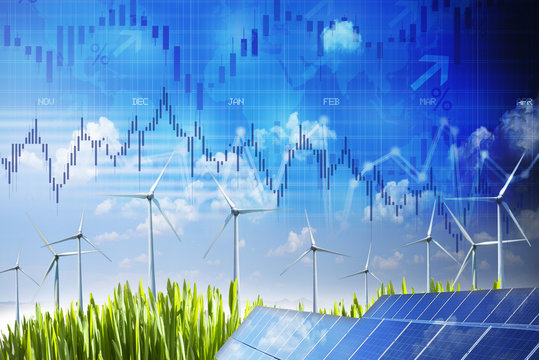 Sustainable energy future market and stock energy market evolution concept